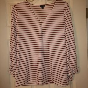Ann Taylor Factory top. Red & white stripe. Size M
